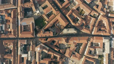 alessandria : Aerial top down view of streets and tiled houses in Alessandria. Piedmont, Italy