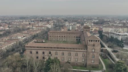 lombardia : Aerial view of Castello Visconteo or Visconti Castle in Pavia. Lombardy, Italy