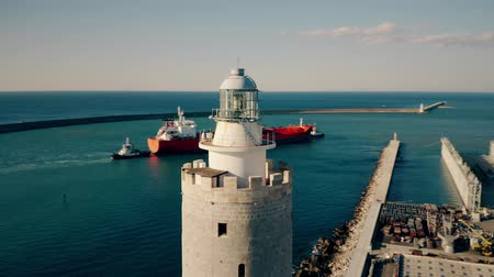 navigational : Aerial view of the lantern of an old lighthouse Stock Footage