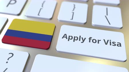 colômbia : APPLY FOR VISA text and flag of Colombia on the buttons on the computer keyboard. Conceptual 3D animation