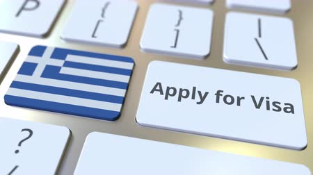 виза : APPLY FOR VISA text and flag of Greece on the buttons on the computer keyboard. Conceptual 3D animation