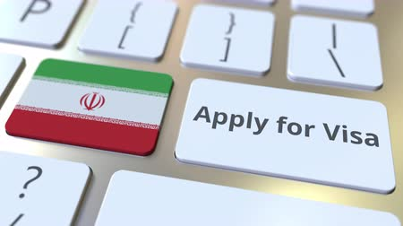 consulate : APPLY FOR VISA text and flag of Iran on the buttons on the computer keyboard. Conceptual 3D animation