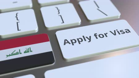 consulate : APPLY FOR VISA text and flag of Iraq on the buttons on the computer keyboard. Conceptual 3D animation Stock Footage