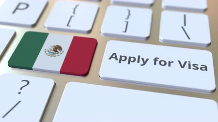 visa : APPLY FOR VISA text and flag of Mexico on the buttons on the computer keyboard. Conceptual 3D animation