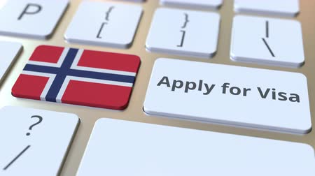 виза : APPLY FOR VISA text and flag of Norway on the buttons on the computer keyboard. Conceptual 3D animation Стоковые видеозаписи