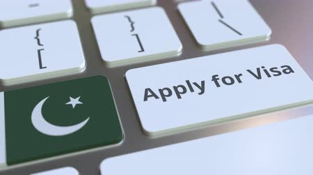 Пакистан : APPLY FOR VISA text and flag of Pakistan on the buttons on the computer keyboard. Conceptual 3D animation