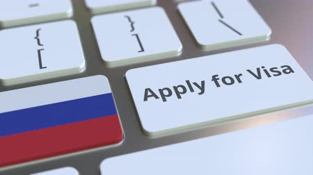 consulate : APPLY FOR VISA text and flag of Russia on the buttons on the computer keyboard. Conceptual 3D animation