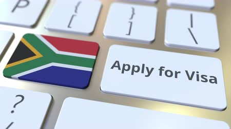 виза : APPLY FOR VISA text and flag of South Africa on the buttons on the computer keyboard. Conceptual 3D animation