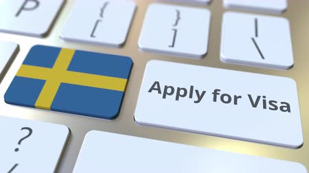 assistência : APPLY FOR VISA text and flag of Sweden on the buttons on the computer keyboard. Conceptual 3D animation