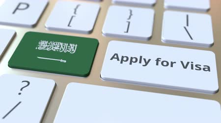 assistência : APPLY FOR VISA text and flag of Saudi Arabia on the buttons on the computer keyboard. Conceptual 3D animation