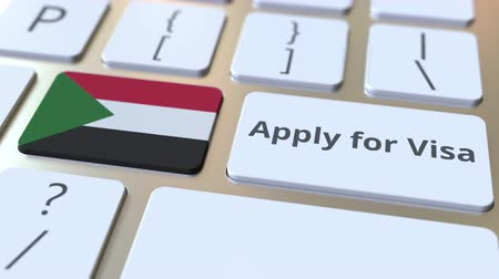 sudanian : APPLY FOR VISA text and flag of Sudan on the buttons on the computer keyboard. Conceptual 3D animation
