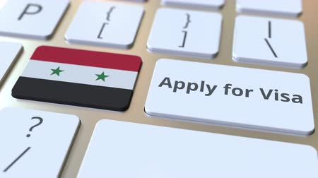 виза : APPLY FOR VISA text and flag of Syria on the buttons on the computer keyboard. Conceptual 3D animation