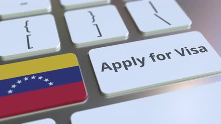 виза : APPLY FOR VISA text and flag of Venezuela on the buttons on the computer keyboard. Conceptual 3D animation