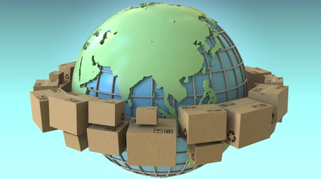 globalização : Many cartons rotate around the world, Asia emphasized. Conceptual loopable 3D animation Stock Footage