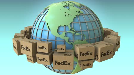 ekspres : Many cartons with FedEx logo around the world, America emphasized. Conceptual editorial loopable 3D animation Stok Video