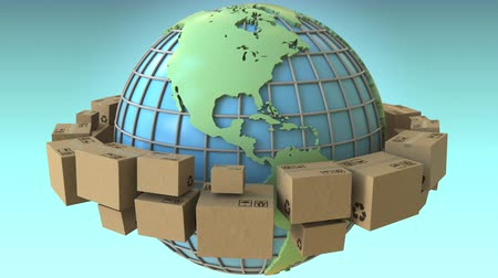 globalização : Cartons rotating around the world, America emphasized. Conceptual loopable 3D animation