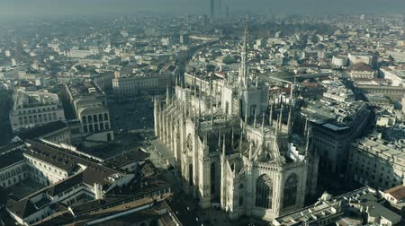 milan : Aerial view of Duomo di Milano or Milan Cathedral. Italy