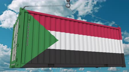sudanian : Loading container with flag of Sudan. Sudanian import or export related conceptual 3D animation