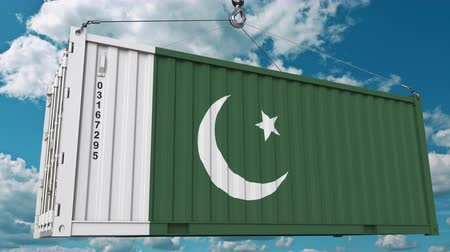 paquistão : Container with flag of Pakistan. Pakistani import or export related conceptual 3D animation