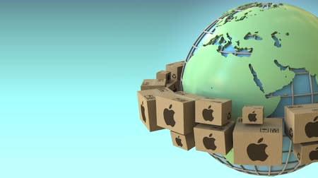 mondialisation : Cartons with Apple Inc logo around the world, Europe and Africa emphasized. Conceptual editorial loopable 3D animation