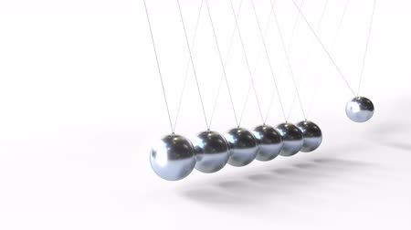 tudományos : Swinging metal spheres of Newtons cradle. Physics related loopable 3D animation