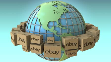 ebay : Boxes with eBay logo around the world, America emphasized. Conceptual editorial loopable 3D animation Stock Footage