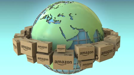 paket : Boxes with AMAZON logo rotate around the world, Africa and Europe emphasized. Conceptual editorial loopable 3D animation