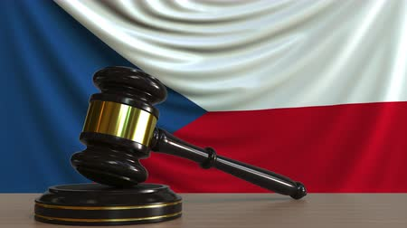 gabela : Judges gavel and block against the flag of the Czech Republic. National court conceptual animation