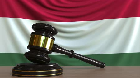 licit : Judges gavel and block against the flag of Hungary. Hungarian court conceptual animation Stock Footage