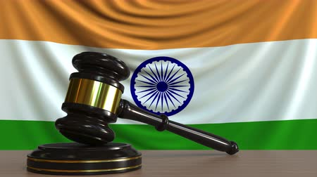 licit : Judges gavel and block against the flag of India. Indian court conceptual animation Stock Footage