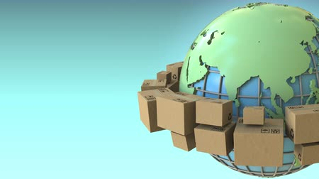 глобализация : Boxes rotate around the world, Asia emphasized. Conceptual loopable 3D animation Стоковые видеозаписи
