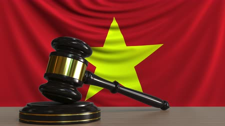 licit : Judges gavel and block against the flag of Vietnam. Vietnamese court conceptual animation Stock Footage