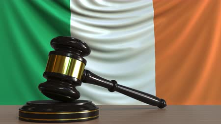 licit : Judges gavel and block against the flag of the Republic of Ireland. Irish court conceptual animation Stock Footage