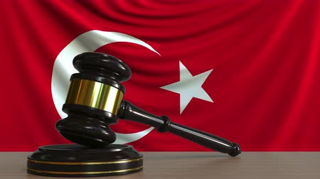 gabela : Judges gavel and block against the flag of Turkey. Turkish court conceptual animation