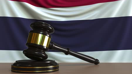 árverezői kalapács : Judges gavel and block against the flag of Thailand. Thai court conceptual animation Stock mozgókép