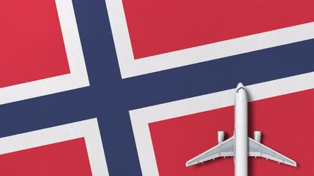 flat lay : Commercial plane on the flag of Norway. Tourism related conceptual 3D animation