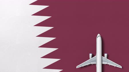 bilet : Top-down view of the airplane on the flag of Qatar. Tourism related conceptual 3D animation