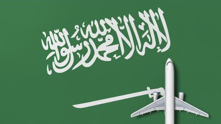 samolot : Commercial airplane on the flag of Saudi arabia. Travel related conceptual 3D animation Wideo