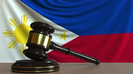 licit : Judges gavel and block against the flag of the Phippines. Court conceptual animation