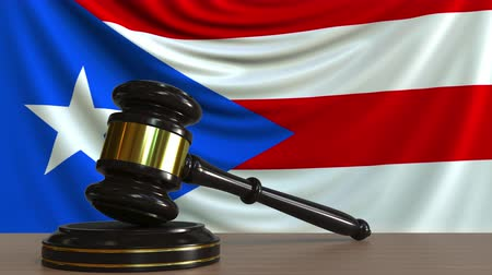 kural : Judges gavel and block against the flag of the Puerto Rico. Court conceptual animation Stok Video