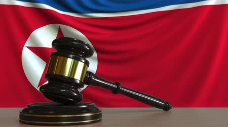 adli : Judges gavel and block against the flag of North Korea. Court conceptual animation