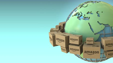 amazonka : Cartons with AMAZON logo rotate around the world, Africa and Europe emphasized. Conceptual editorial loopable 3D animation