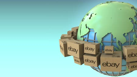 ebay : Boxes with eBay logo around the world, Asia emphasized. Conceptual editorial loopable 3D animation Stock Footage