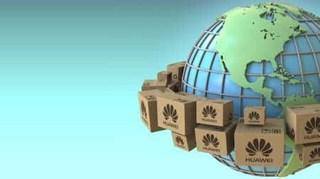 ekspres : Boxes with Huawei logo around the world, America emphasized. Conceptual editorial loopable 3D animation