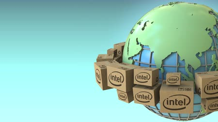intel : Boxes with Intel logo around the world, Asia emphasized. Conceptual editorial loopable 3D animation
