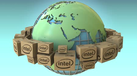 intel : Cartons with Intel logo around the world, Europe and Africa emphasized. Conceptual editorial loopable 3D animation Stock Footage