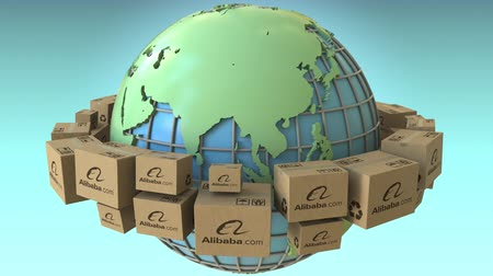 континенты : Boxes with Alibaba logo around the world, Asia emphasized. Conceptual editorial loopable 3D animation