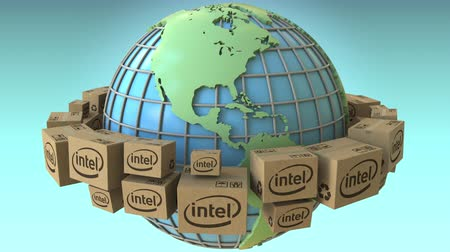 глобализация : Many boxes with Intel logo around the world, America emphasized. Conceptual editorial loopable 3D animation Стоковые видеозаписи