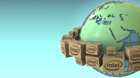 intel : Boxes with Intel logo around the world, Europe and Africa emphasized. Conceptual editorial loopable 3D animation Stock Footage