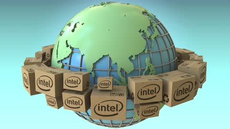 intel : Cartons with Intel logo around the world, Asia emphasized. Conceptual editorial loopable 3D animation